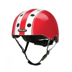 Helm Melon Double White Red XL-2XL (58-63cm) wit/rood