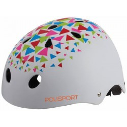 Helm Junior PolisportTriangles 53-55cm mat wit/oranje